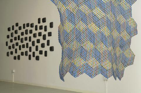Installation view with Sift in foreground and Knurl behind